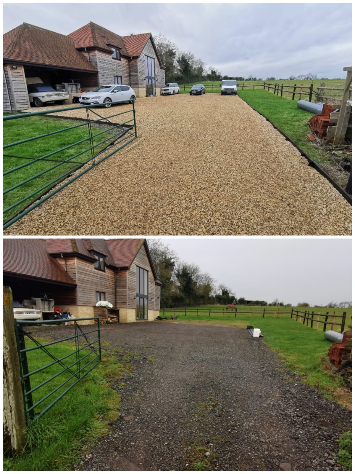 Driveway with timber edging installed and cerney laid in Chicksgrove, Wiltshire